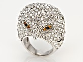 White and Black Crystal Silver Tone Owl Ring