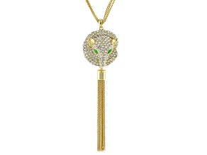 White Crystal and Green Enamel Gold Tone Fox Tassel Necklace