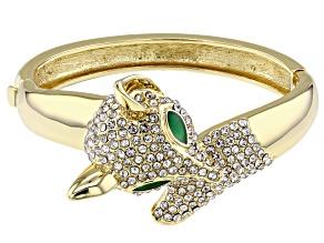 White Crystal and Green Enamel Gold Tone Fox Bracelet