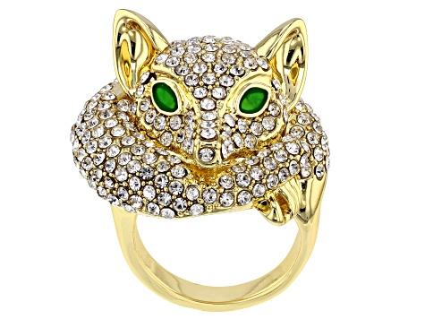 a4639f0ca White Crystal and Green Enamel Gold Tone Fox Ring - OPC416 | JTV.com