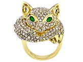 White Crystal and Green Enamel Gold Tone Fox Ring