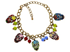 Multi Color Crystal Antiqued Gold Tone Day of the Dead Charm Bracelet