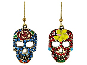 Multi Color Crystal Antiqued Gold Tone Day of the Dead Dangle Earrings