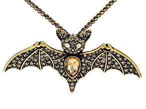 Multi Color Crystal Antiqued Gold Tone Bat Necklace