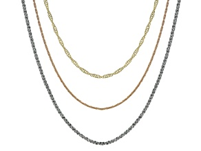 Three Tone Chain Necklace Set of 3