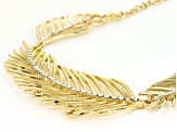 White Crystal Gold Tone Feather Statement Necklace