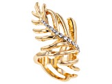 White Crystal Gold Tone Feather Statement Ring