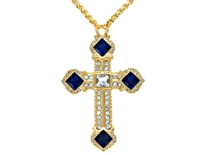 White and Blue Crystal Gold Tone Cross Necklace
