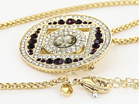White and Purple Crystal Gold Tone Pendant with Chain