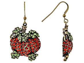 Multi Color Crystal Antiqued Gold Tone Pumpkin Dangle Earrings