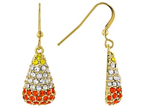 Multi Color Crystal Gold Tone Candy Corn Dangle Earrings