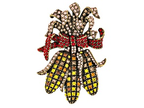 Multi Color Crystal Antiqued Gold Tone Harvest Corn Brooch