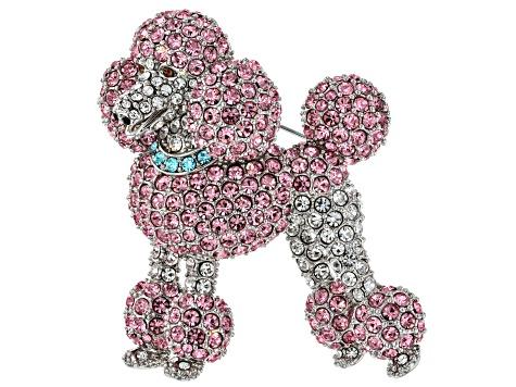 Multi Color Crystal Silver Tone Poodle Dog Brooch