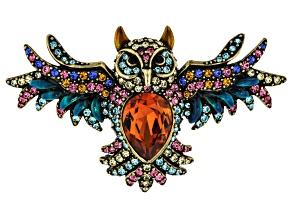 Multi Color Crystal Antiqued Gold Tone Owl Brooch