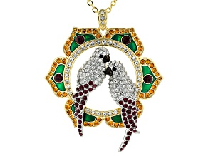 Multi Color Crystal Two Tone Love Birds Pendant With Chain