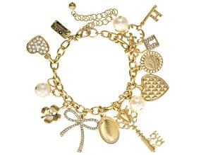 White Crystal White Pearl Simulant Gold Tone Charm Bracelet