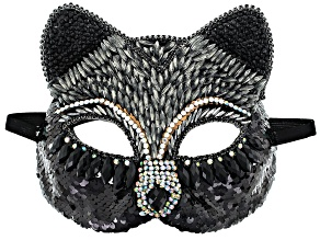 Black and White Crystal Gunmetal Tone Cat Mask