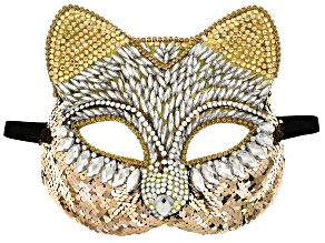 White and Champagne Crystal Gold Tone Cat Mask