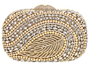 White Crystal and Pearl Simulant Gold Tone Feather Clutch