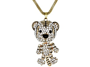 Black and White Crystal Gold Tone Tiger Pendant With Chain