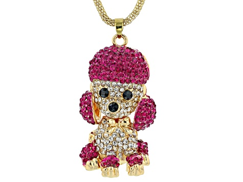Multi Color Crystal Gold Tone Poodle Pendant With Chain