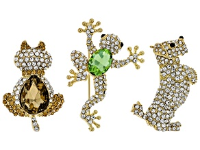 Multi Color Crystal Gold Tone Cat, Dog and Frog Brooch Set of 3