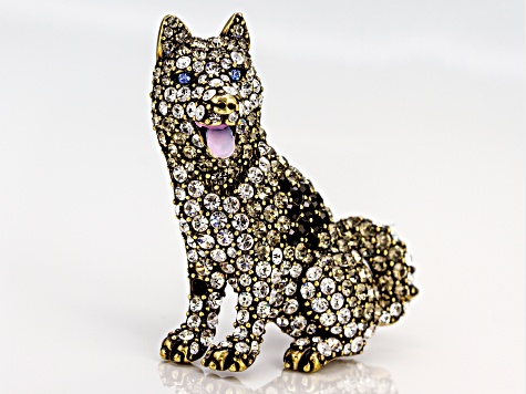 Antiqued Gold Tone Multi-color Crystal Husky Brooch