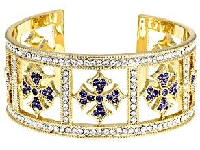 Gold Tone Round Multi-color Crystal Cuff Bracelet