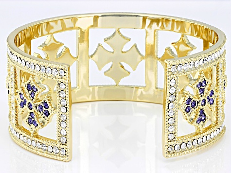 Gold Tone Round Multi-color Crystal Cuff Bracelet