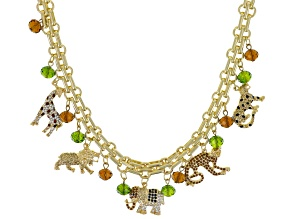 Multicolor Crystal Gold Tone Safari Charm Necklace