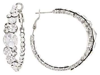 Picture of White Crystal Silver Tone Hoop Earrings
