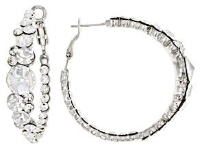 White Crystal Silver Tone Hoop Earrings