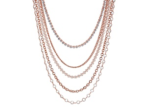 White Crystal Pink Pearl Simulant Rose Tone Multistrand Necklace