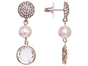 White Crystal Pink Pearl Simulant Rose Tone Dangle Earrings