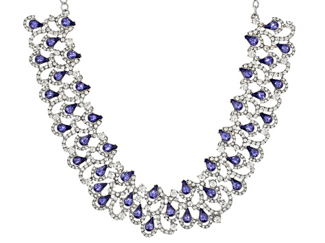 Off Park ® Collection  Tanzanite Color Crystal, White Crystal Silver Tone Statement Necklace