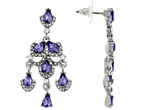 Silver Tone Tanzanite Color Crystal Dangle Earrings