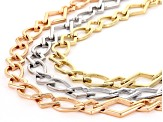 Gold Tone Silver Tone And Rose Tone Geometric Necklace Set Of 3