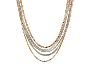 Rose And Silver Two-tone Multi-strand Necklace