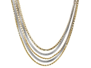 Gold And Silver Two-tone Multi-strand Necklace