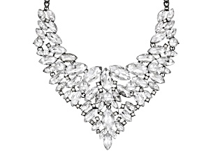 Silver Crystal Gunmetal tone Statement Necklace