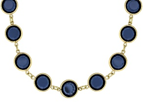 Tanzanite Color Crystal Antiqued Gold Tone Necklace