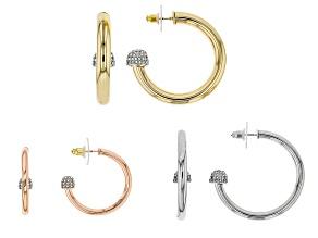 White Crystal Gold Tone, Rose Tone And Gunmetal Tone Hoop Earrings Set Of 3