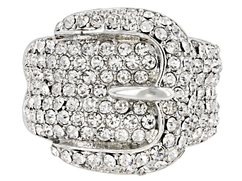 White Crystal Silver Tone Belt Buckle Ring