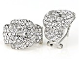 White Crystal Silver Tone Belt Buckle Earrings