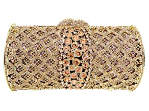 Pink Crystal Gold Tone Clutch