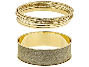 Gold Tone Glitter Bangle Set