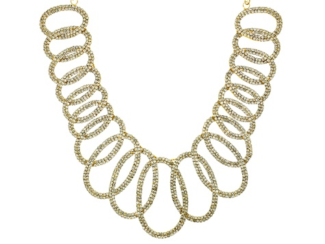Gold Tone White Crystal Statement Necklace