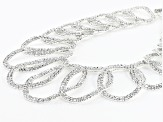 Silver Tone White Crystal Statement Necklace