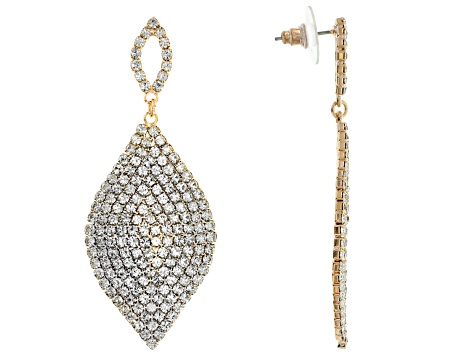 White Crystal Tri Color Dangle Earrings Set Of 3