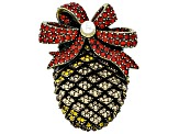 Multi-color Crystal Antiqued Gold Tone Pine Cone Brooch